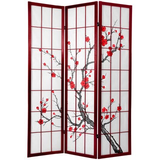 Handmade Cherry Blossom 6-foot Shoji Screen Rosewood (China)
