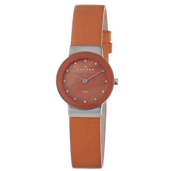Skagen Women's Orange Leather Strap MOP Dial Watch