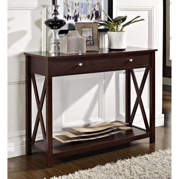 Espresso 'X' Design Two-drawer Console/ Sofa Table