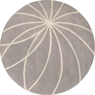 Hand-tufted Beernem Dove Grey Floral Wool Rug (9'9 Round)