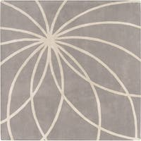 Hand-tufted Beernem Dove Grey Floral Wool Area Rug (8' Square) - 8'