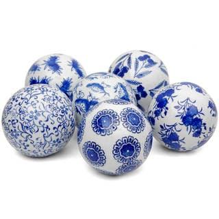 "Handmade 4"" Blue and White Decorative Porcelain Ball, Set of 6"