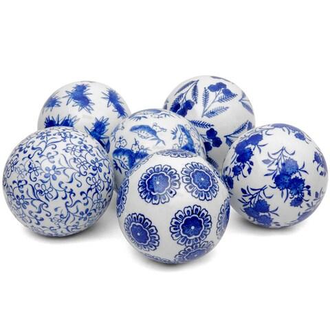 Handmade Set of 6 Blue and White Decorative 4-inch Porcelain Balls (China)