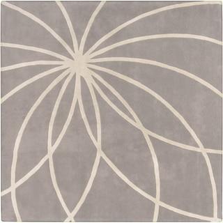 Hand-tufted Beernem Dove Grey Floral Wool Rug (9'9 x 9'9)