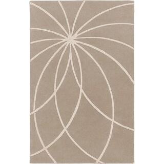Safari Tan Hand-tufted Beerse Floral Wool Rug (2' x 3')