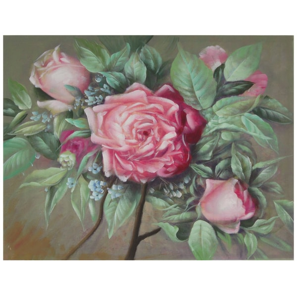Hand Painted Portrait of a Pink Peony Canvas (China)