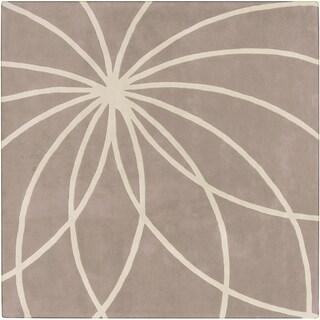 Hand-tufted Beerse Safari Tan Floral Wool Rug (6' x 6')