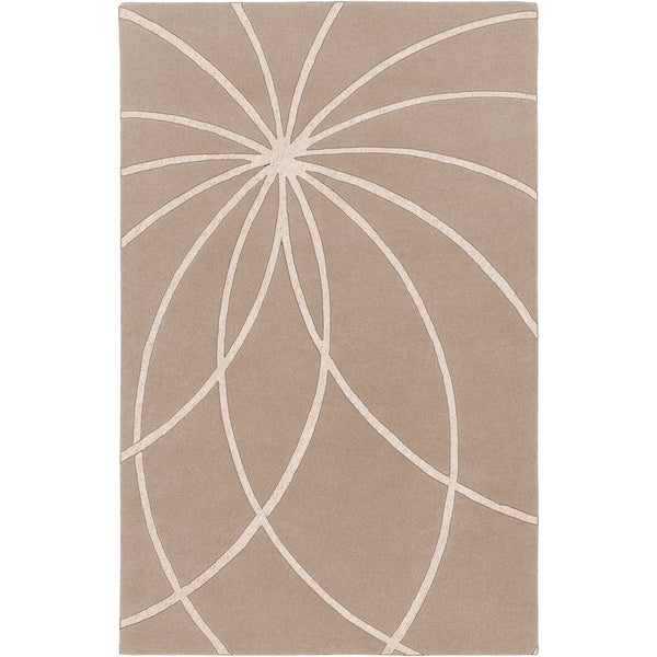 "Hand-tufted Beerse Safari Tan Floral Wool Area Rug - 7'6"" x 9'6"""