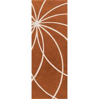 Hand-tufted Beauraing Carmine Floral Wool Rug (3' x 12')