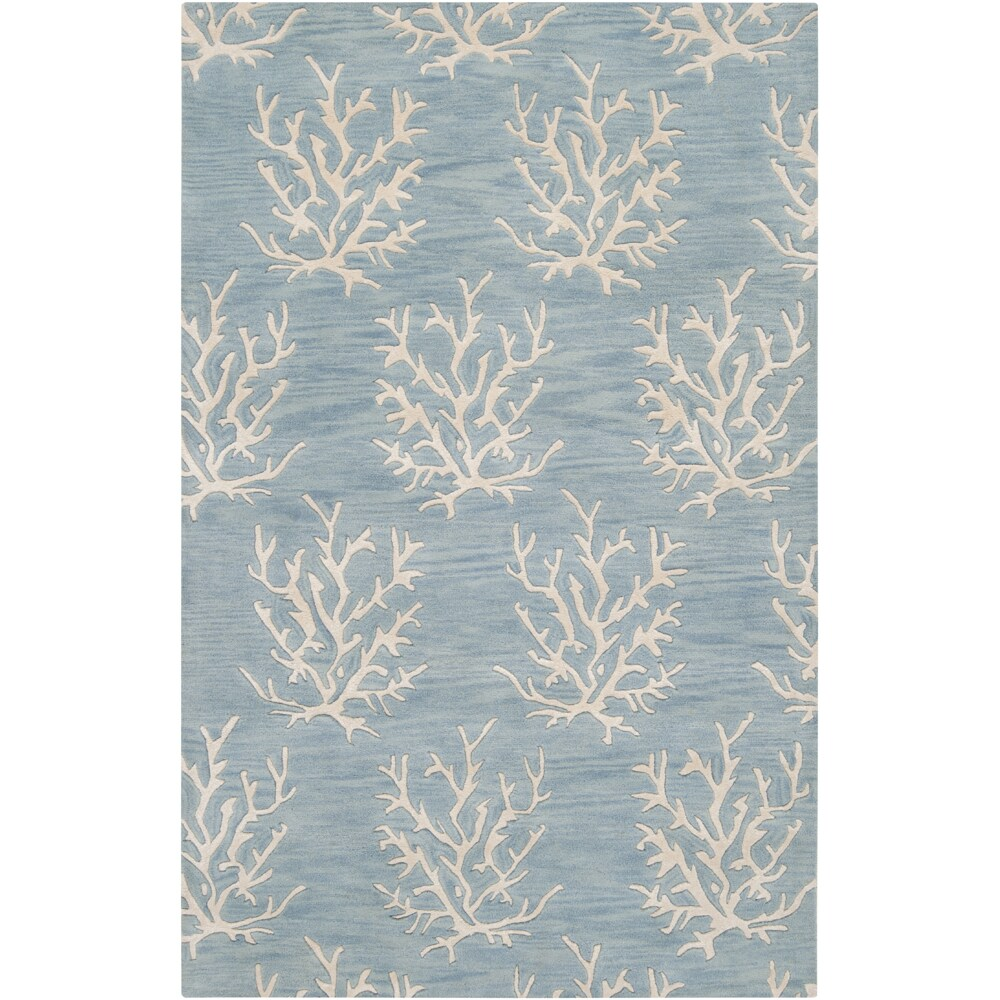 Hand-tufted Blue Beach Inspired Wool Area Rug (2' x 3')
