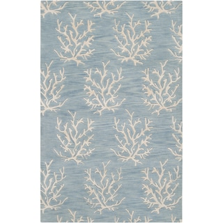 Hand-tufted Blue Beach Inspired Wool Area Rug (2' x 3') - Thumbnail 0