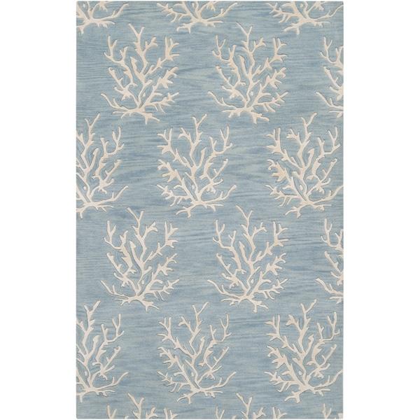 Hand-tufted Blue Beach Inspired Wool Rug (2' x 3')