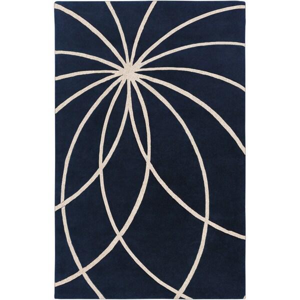 Hand-tufted Beersel Dark Blue Floral Wool Rug (10' x 14')