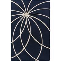 Dark Blue Hand-tufted Beersel Floral Wool Area Rug - 12' x 15'