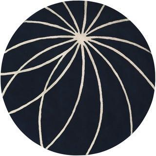 Hand-tufted Beersel Dark Blue Floral Wool Rug (4' Round)