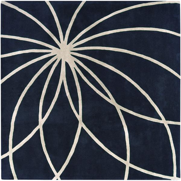 Hand-tufted Beersel Dark Blue Floral Wool Rug (6' Square)