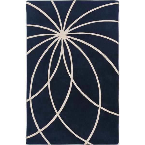 Hand-tufted Beersel Dark Blue Floral Wool Rug (8' x 11')
