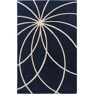 Hand-tufted 'Beersel' Dark Blue Floral Wool Rug (9' x 12')