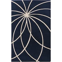 Hand-tufted 'Beersel' Dark Blue Floral Wool Area Rug - 9' x 12'