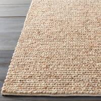 Hand-woven Seward Beige Solid Causal Wool Area Rug - 2'6 x 8'