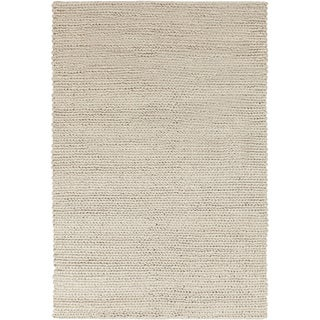 Hand-woven Butte Solid Casual Ivory Wool Rug (5' x 8')