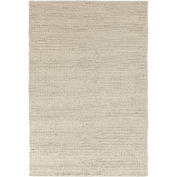 Hand-woven Butte Solid Casual Beige Wool Area Rug (8' x 11')