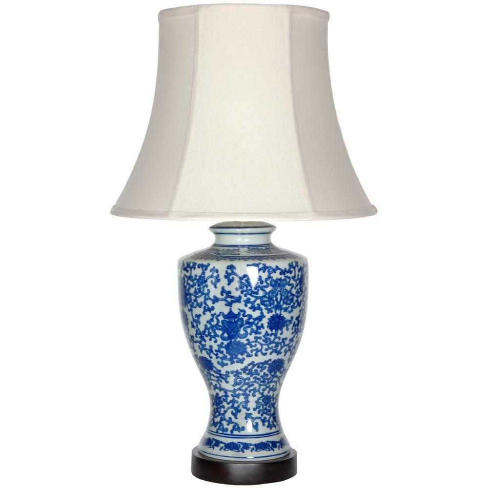 Handmade Victorian Design Porcelain Lamp (China) (Blue an...
