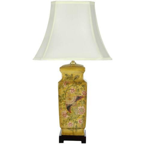 "Handmade Birds and Flowers Wooden Design Porcelain Lamp - 14.75""W x 14.75""D x 27.5""H"