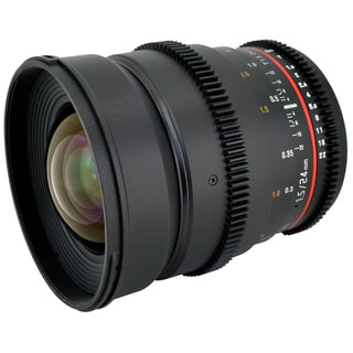 Rokinon 24mm T1.5 Cine Wide Angle VDSLR Lens with De-clicked Aperture