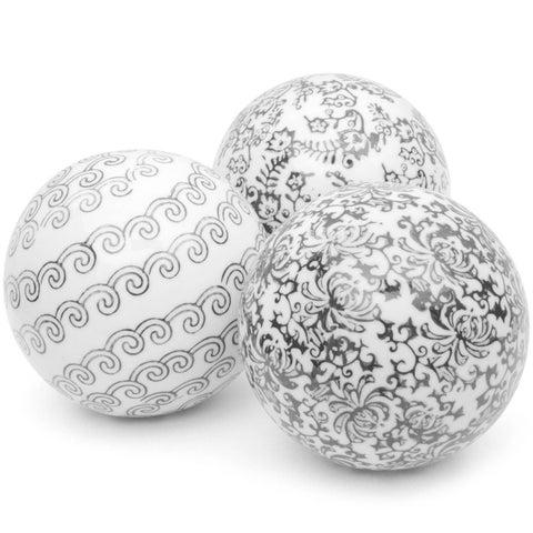 Handmade Set of 3 Black and White Decorative 4-inch Porcelain Ball (China)