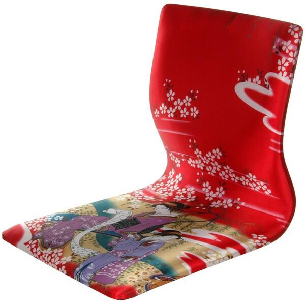 Handmade Tatami Meditation Backrest Chair - Red Geisha (China)