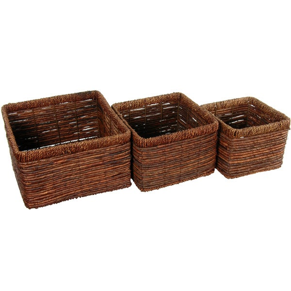 Handmade Hand Woven High Basket Tray (China)