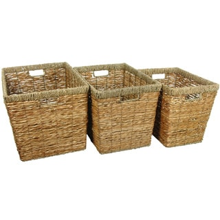 Handmade Natural Rush Grass Storage Bin Set (China)