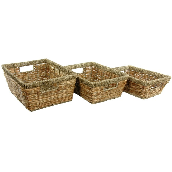 Hand Woven Open Tote Tray Set (China)