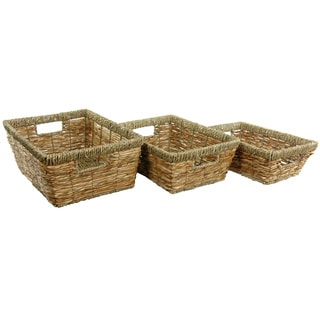 Handmade Hand Woven Open Tote Tray Set (China)