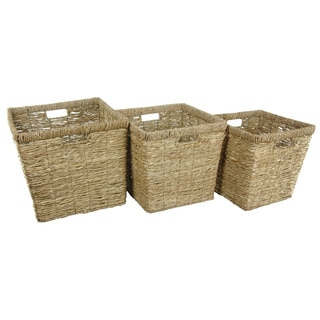 Handmade Hand Woven Rush Grass Basket Bin Set (China)