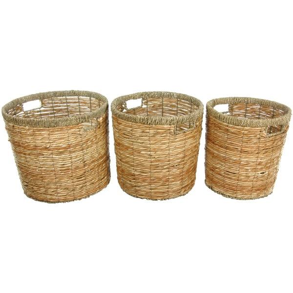 Handmade Rush Grass Round Waste Bin Set