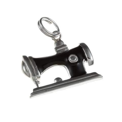 La Preciosa Sterling Silver Black Enamel Sewing Machine Charm