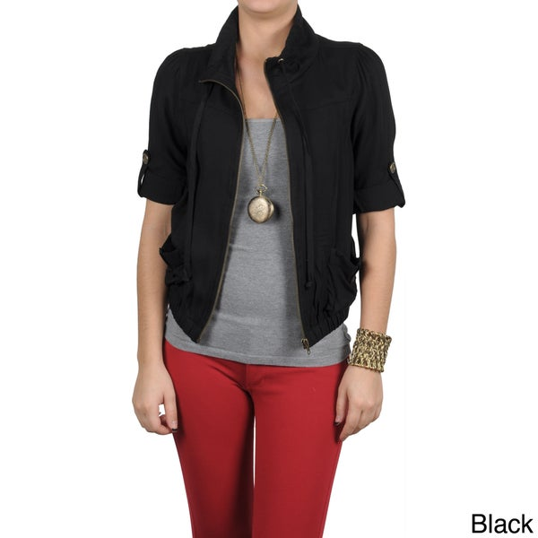 T by Hailey Jeans Co. Women's Roll-up Sleeve Zipper Front Jacket