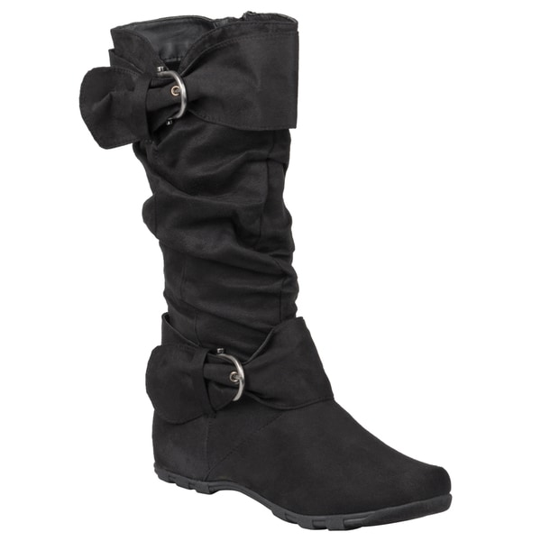 Journee Collection Women's 'Jester-52' Round Toe Buckle Detail Boots