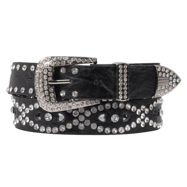 Hailey Jeans Co. Junior's Rhinestone Studded Black Cutout Belt