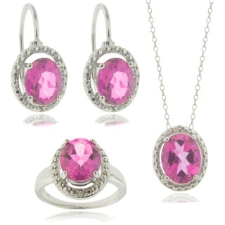 Dolce Giavonna Silver Pink Topaz And Diamond Accent Pendant Earrings Ring Or Set