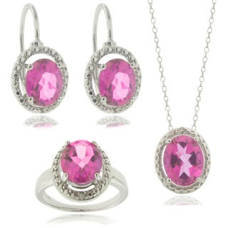 Dolce Giavonna Silver Pink Topaz and Diamond Accent Pendant, Earrings, Ring or Set (4 options available)