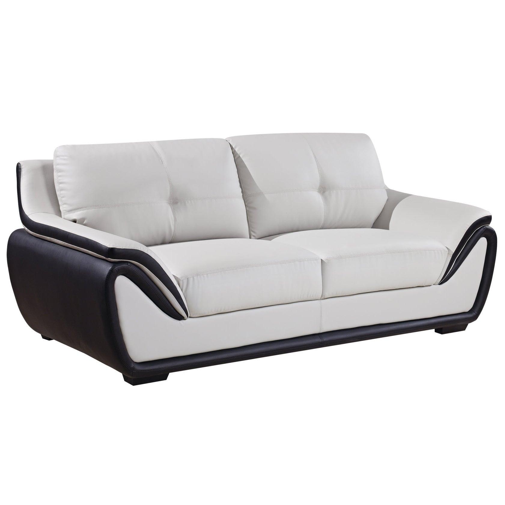 Global Grey/ Black Bonded Leather Sofa (Grey Bonded Leath...