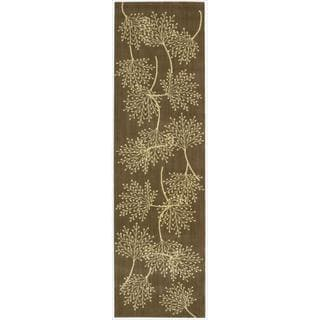 Capri Chocolate Wool-blend Runner Rug (2'3 x 8')