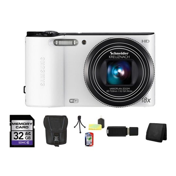 Samsung WB150F SMART Long Zoom 14.2MP White Digital Camera 32GB Bundle