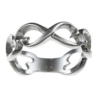 La Preciosa Sterling Silver Infinity Figure 8 Heart Design Ring