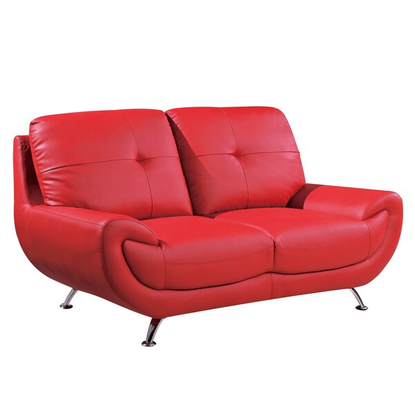 Red Bonded Leather Loveseat
