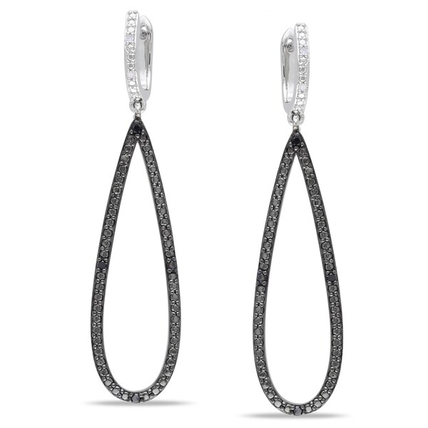 Miadora Sterling Silver 1/10ct TDW Black and White Diamond Earrings