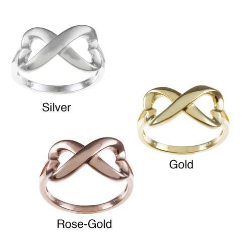 La Preciosa Sterling Silver Heart Design Infinity Ring